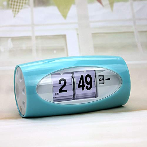 - DAYUANDIAN Automatic Page Turning Alarm Clock, Creative Oval Clock Fashion Automatic Page Turning Clock Craft Decoration for Living Room Kitchen Office and Home