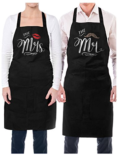 Wedding Apron - Mr. and Mrs. Aprons With Mustache and Red Lips Gift for Couples Wedding, Anniversary, Newlywed His & Hers Cooking Chef Apron One Size Black
