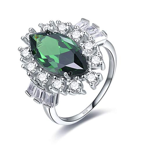 Yeinos Womens Created Emerald Marquise Halo Promise Ring 925 Sterling Silver