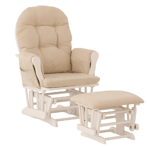 Storkcraft Hoop Glider and Ottoman, White/Beige