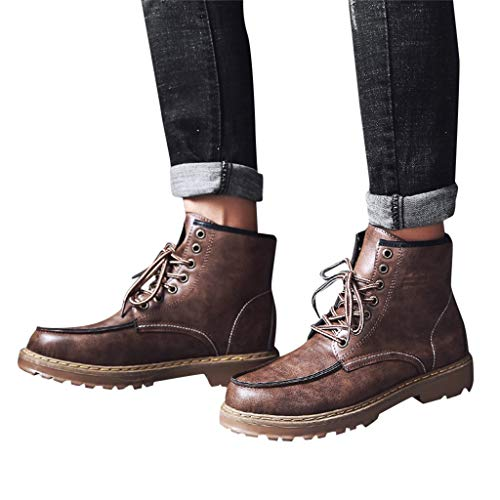 Men's Oxford Chelsea Ankle Boots Wingtip Lace-Up Work Dress Boots Motorcycle Ride Hiking Combat Boots for Men (US:7(39), Brown)