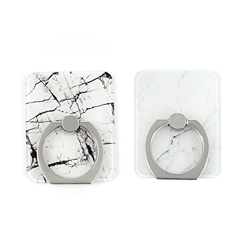 Mavis's Diary 2 Pcs Marble Pattern Universal 360 Degree Rotating Phone Metal Buckle Tablet Finger Grip Ring Stand Holder Kickstand for All Phones Tablets - Black&White