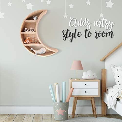 41V4cRyeWSL. AC - Lunar Sol - Crescent Moon Shelf For Crystals - Solid Wood Craftsmanship For Any Home, Nursery, Dorm Or Bedroom - Great For Stones, Crystals, Essential Oils And Plants - Boho Display Wall Decor