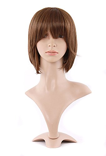 MapofBeauty 29cm Natural Synthetic Short Straight Wig (Flax Brown)