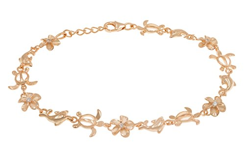 Honolulu Jewelry Company 14k Rose Gold Plated Sterling Silver Turtle, Plumeria, and Dolphin Bracelet with CZ - 10mm