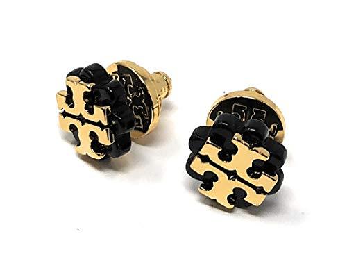 Tory Burch Logo Flower Resin Stud Earrings Black Gold