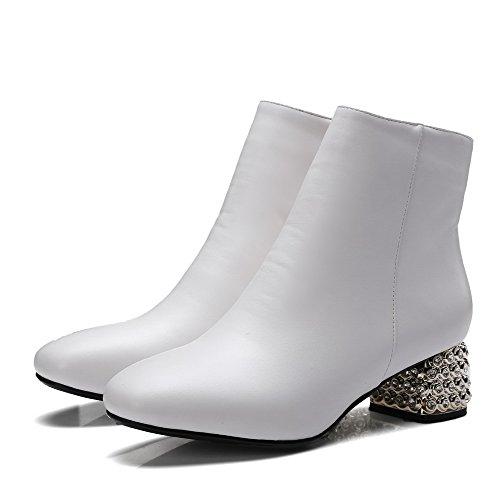 AllhqFashion Mujeres Cremalleras Puntera Cuadrada Mini Tacón Caña Baja Botas Blanco
