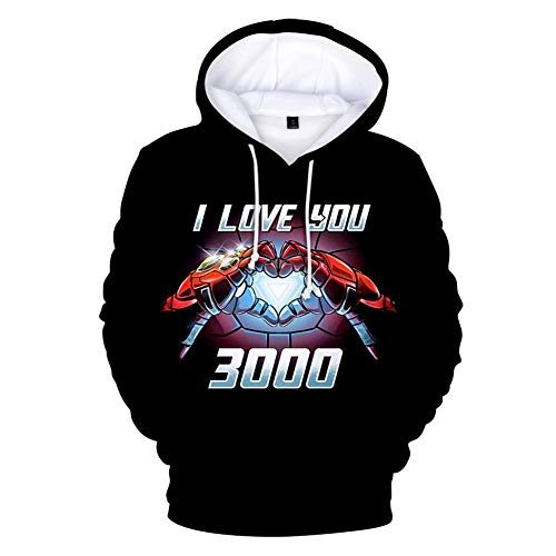 - Gurbanton I Love You 3000 Times Hoodie 3D Print Jacket Pullover Sweatshirt (Men Pullover Black F, US M/Label XL)