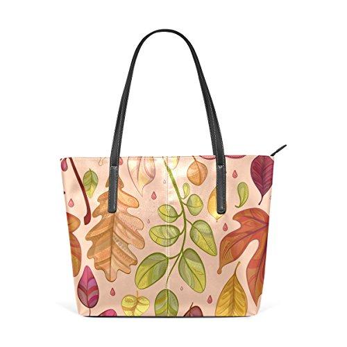 COOSUN Hojas de otoño del hombro bolso de cuero del monedero y bolsos de la bolsa de asas para las mujeres Medio muticolour
