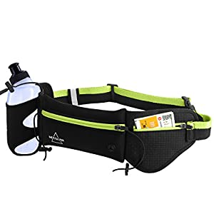 Hydration Waist Pack By Mosslian. Waist Runing belt with Water Bottle Holder for Woman&Men-Top Running Gear with Waterproof and Reflective- Hands Free Workout-Fits iPhone 7 Plus (Black&Green)