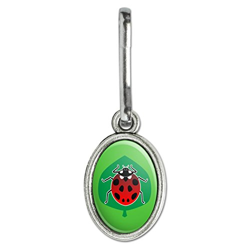Charm Oval Green - GRAPHICS & MORE Red Ladybug on Green Leaf Ladybird Antiqued Oval Charm Clothes Purse Suitcase Backpack Zipper Pull Aid