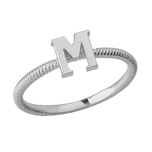 Women's 925 Sterling Silver ''M'' Initial Stackable Rope Design Ring (Size 4.5) by Modern Contemporary Rings
