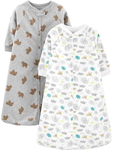 Simple Joys by Carter's Baby 2-Pack Microfleece or 3-Pack Cotton Sleepbag, Animals/Heather Grey Bear, Medium: 6-9 Months, 12.5-21 lbs