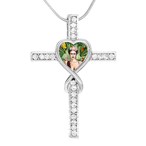 (LGDSROJMXL Frida Kahlo Portrait Drawstring Cross Pendant Necklace Jesus Lovers for Women Girl Dainty Crystal Everyday Jewelry)