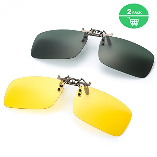 Clip on Sunglasses for Prescription Glasses, Flip Up Rimless Anti Glare Night Vision Lens for Driving Fishing (green polarized lens+yellow night vision glasses, 5941) by ELIVWR