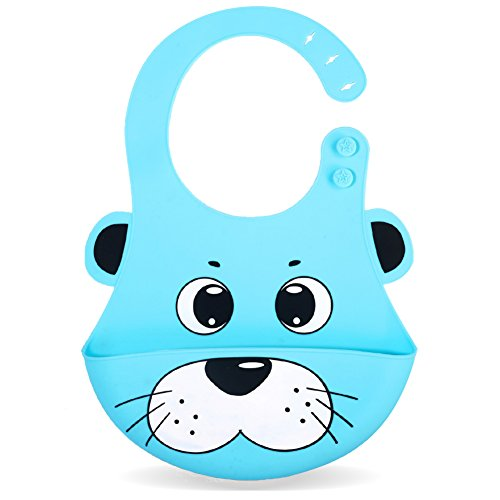 Silicone Baby Bibs, Kekemonkey Waterproof Baby Drool Bibs with Wide Pocket BPA-Free Easily Wipe Clean Cute Cartoon Design for Unisex Infant Babies Toddlers (6 To 48 Months) Blue