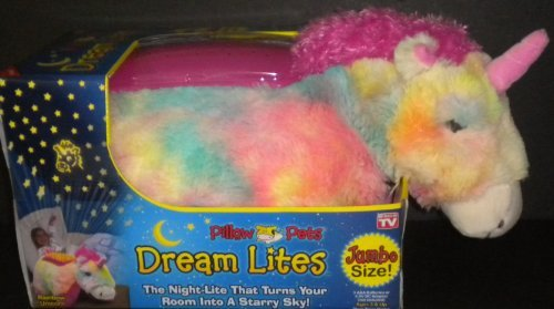"Jumbo Dream Lites Pillow Pet Unicorn Multi Color Hot Pink Mane Horn 20"" x 10.5"" 3 Light Options Sleep Timer Project Stars 3"