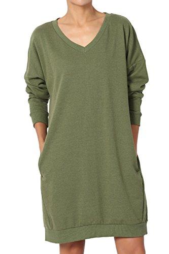 TheMogan Women's Casual V-Neck Pocket Loose Sweatshirt Tunic Olive Green ()
