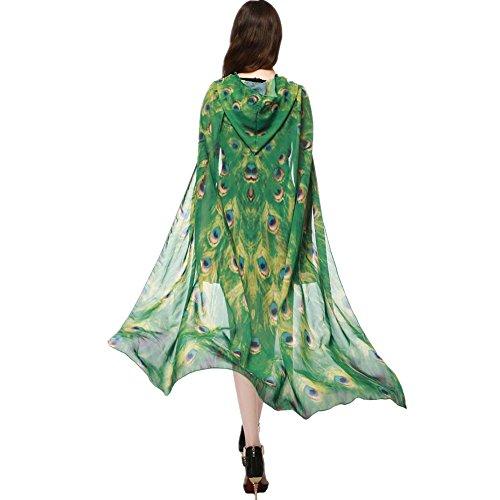WeiYun Women Girls Chiffon Cape Scarf Poncho Novelty Halloween Shawl Wrap Printed Butterfly Wing/Peacock/Pumpkin Cloak (1Yellow) - Peacock Wings
