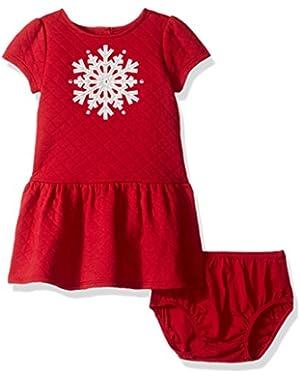 Baby Girls' Dropwaist Dress with Snowflake