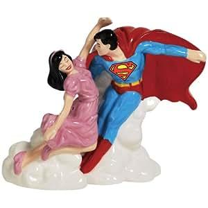 Westland Giftware Superman and Lois Lane Magnetic Ceramic Salt and Pepper Shaker Set, 4-Inch