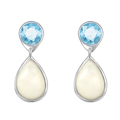 Sterling Silver or Gold Tone Round Garnet, Blue Topaz or Amethyst with Pear-Shaped Mother of Pearl Earrings (blue-topaz) (Shaped Pear Topaz)