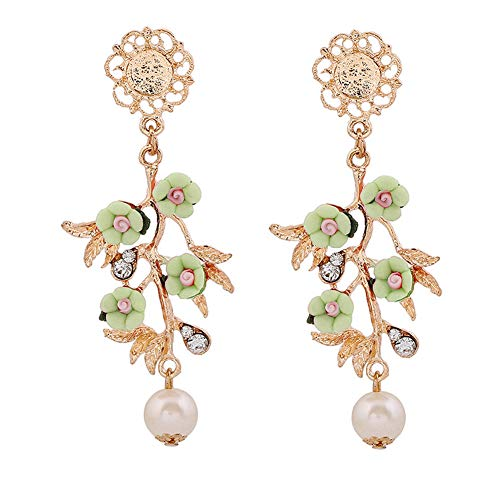 [Christmas Gifts]-Colored Baroque Flower Branch Faux Pearl Pendant Jewelry Dangle Earrings Decor