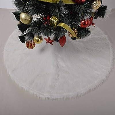 Gireshome Falda de Piel sintética Blanca para árbol de Navidad ...