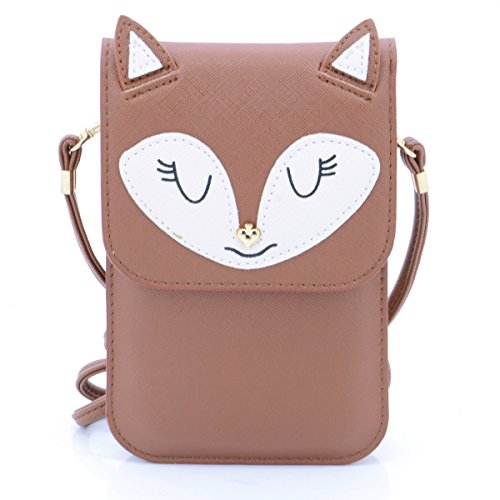 Fox Phone Strap - U-TIMES Universal Multipurpose Small Cute Cartoon Fox Pattern Synthetic Leather Crossbody Shoulder Purse 6 inch Cell Phone Wallet Pouch(01-Coffee)