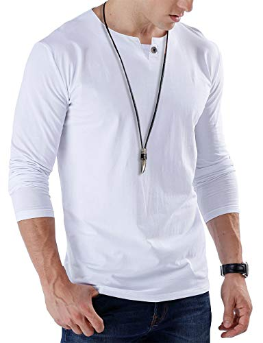 - JNC Mens Casual Single Button Slim Fit Long Sleeve Henley Top T-Shirts Cotton Shirts (Small, 1 Long Sleeve White)