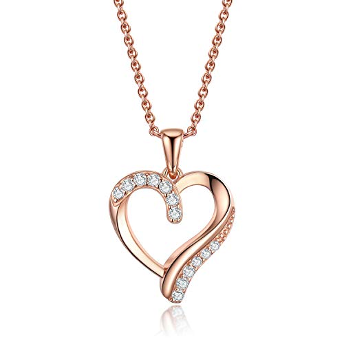 VOUCHON 14K Rose Gold Plated Love Heart Pendant Necklace for Women 925 Sterling Silver Jewelry Her Gifts