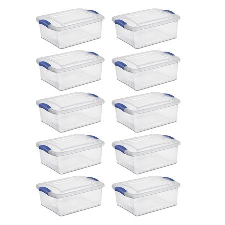 Sterilite 15 Quart Latch Box Stadium Blue/clear Case of 10 H