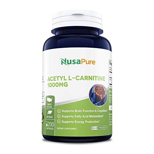 Acetyl L-Carnitine 1000mg 200 Capsules (Non-GMO & Gluten Free) High Potency Acetyl L Carnitine HCL (ALCAR) Supplement Pills to Support Energy & Brain Function