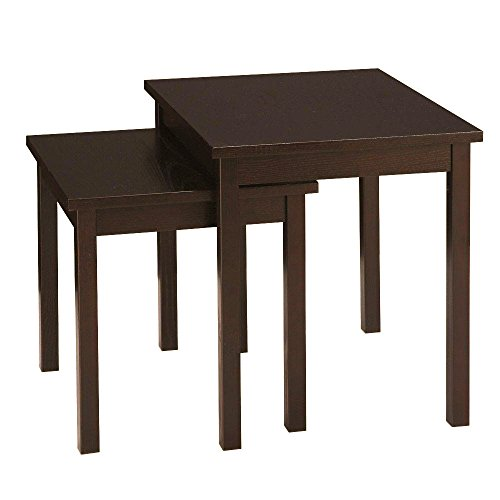 Metro Shop Ave Six Main St. Wood Grain Nesting End Tables with Solid Wood Legs & Overhang Edge-Espresso by Ave Six Main St.