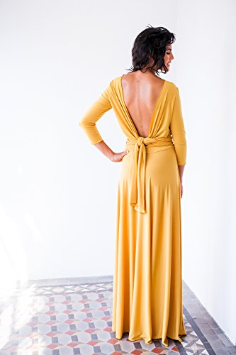 Long yellow dress with sleeves, yellow evening dress with sleeves, mustard yellow dress, mustard long sleeve dress, long yellow wrap dress by Mimètik Bcn
