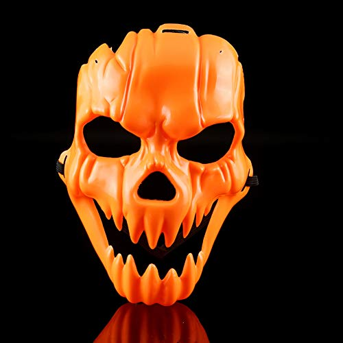 NOMSOCR Halloween Mask, Horror Mask Scary Devil Face Prank Pumpkin Skull Plastic Mask for Adults Kids (Yellow) ()