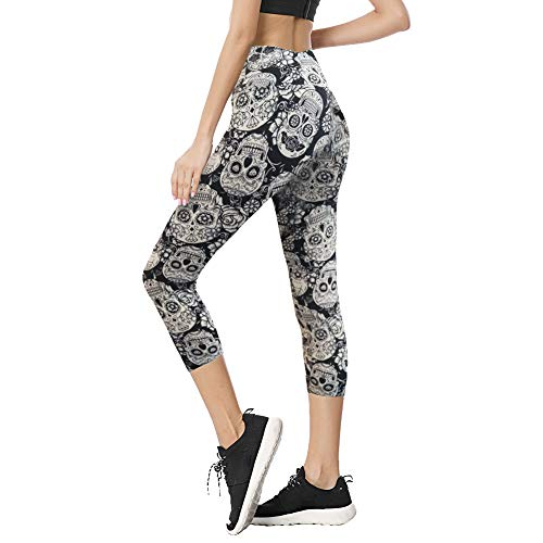 (TNNZEET High Waist Capri Leggings for Women Opaque Slim Regular & Plus Size Elastic Buttery Soft Classic Yoga Pants)