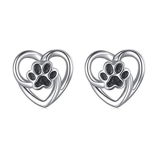 S925 Sterling Silver Animal Jewelry Puppy Dog Cat Pet Paw Print Love Heart Stud Earrings for Women Girls