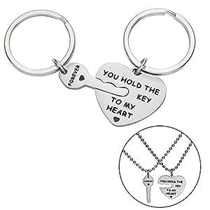 Amazon.com: Juego de llaveros para pareja, regalo para ...