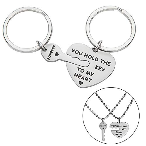 (Couple Keychains Set Necklace Gift for Wife Husband Boyfriend Girlfriend Him Her You Hold The Key to My Heart Forever Anniversary Wedding Valentine Birthday Jewelry Key Ring Charm Gift)