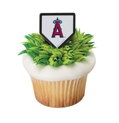 Mlb Anaheim Angels Baseball Team Logo Cupcake Rings   24 Pc