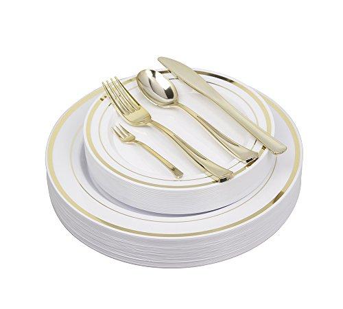 125 Pieces Premium Quality Heavyweight Tableware/Elegant Plastic Disposable dinnerware: 25 Dinner Plates, 25 Salad or Dessert Plates & 25 Polished Gold Forks Knives & Spoons - Bonus 25 Dessert Forks -