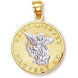 Amazon 14k white gold religious saint michael medal charm 14k gold saint michael medal protection charm pendant white and yellow gold aloadofball Choice Image