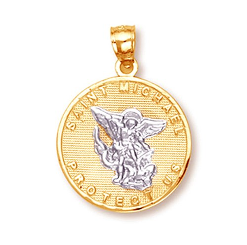 14k Gold Saint Michael Medal Protection Charm Pendant (White-and-yellow-gold) by Saint Collection