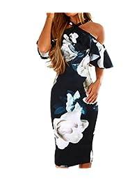 Asskdan Women's Sexy Off Shoulder Ruffles Floral Print Bodycon Midi Dress