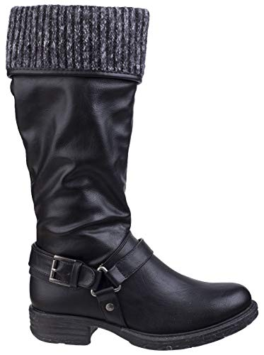 Divaz Pull Monroe ladies Lined Black Boots Fur Tall Womens Casual Cuffed On fAfwnTgrq