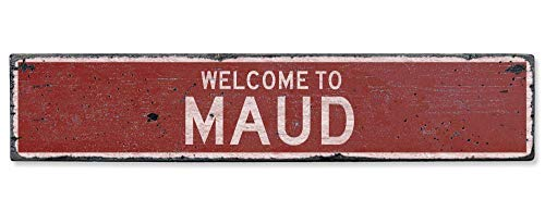 HarrodxBOX Welcome to Maud Vintage US Maud, Oklahoma Distressed Custom City Sign Metal Signs Funny Aluminum Sign for Garage Home Yard Fence Driveway - Oklahoma Led Sign