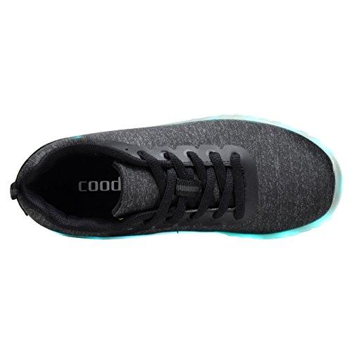 Coodo Uomo Donna Bambini Scarpe Led 7-color-lights Ricarica Usb Sneakers 5-black