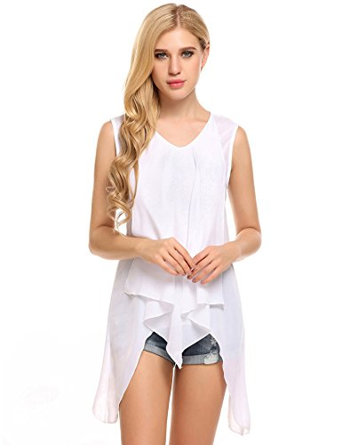 Meaneor Women Double-Layered Flowy Sleeveless Chiffon Tank Top T-shirt Blouse White/S (White Boot Tops)