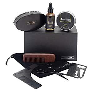 Mark & Stone Beard Grooming Kit | 8pcs | Beard Balm, Beard Oil, Beard Brush, Beard Comb, Stainless Steel Trimming Scissors, Beard Shaper, Pouch and Multifunctional Beard Utility | Beard Care Gift Set